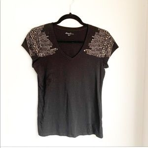 Kenneth Cole Studded Shoulder Tee Size Small